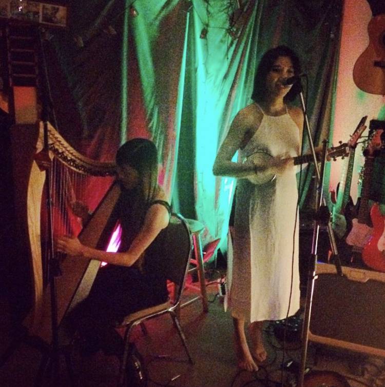 Brenda Chen  and  Kate Harwitz  performing at Acme House of Music in Oakland, as part of a collaboration between fashion / lifestyle publication  Bare Magazine  and arts collective Fault and Fracture.