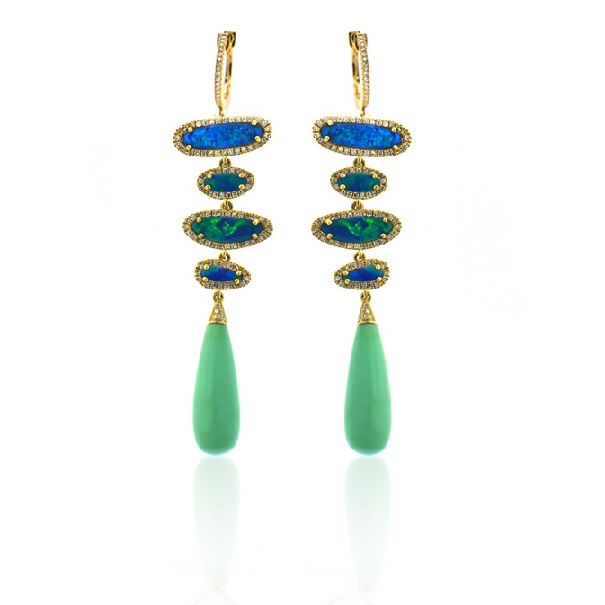 14k yellow gold and diamond drop earring with opal slices and and chrysophase.jpg