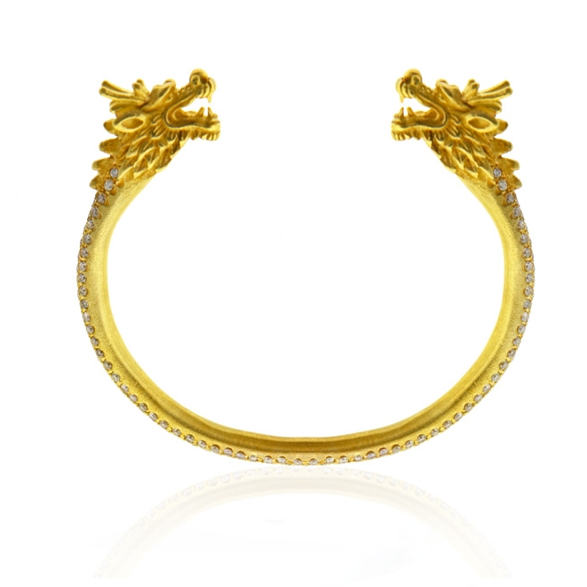 18k yellow gold and diamond twin dragon cuff bracelet .jpg
