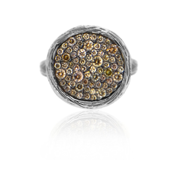14k white gold bark disc and pave chocolate diamond split shank ring.jpg
