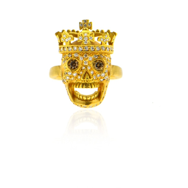 18k yellow gold and pave diamond skull ring.jpg