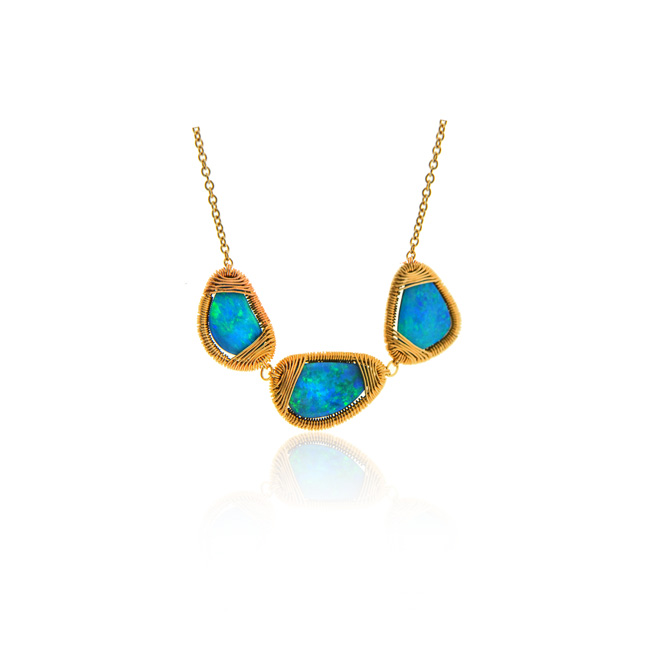 14k yellow gold necklace with three opal stations with gold wrapping.jpg