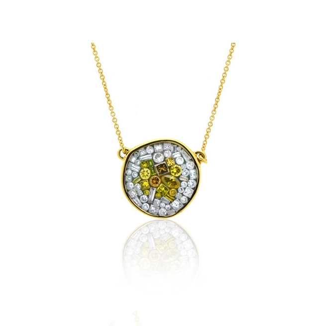 18k yellow gold pebble necklace with a mosaic design of white and color enhanced diamonds.jpg