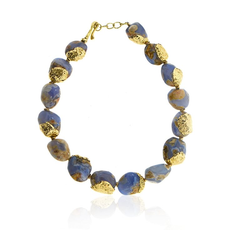 Chalcedony beaded necklace with scattered 18k yellow gold hammered caps.jpg