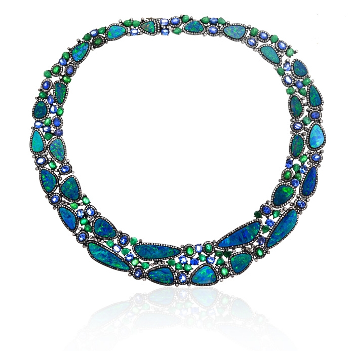 Oxidized 18k gold collar necklace with opals, emeralds, blue sapphires and diamonds.jpg