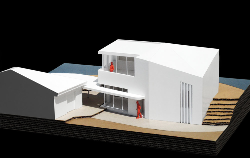 A model with portion of the existing house in the left of the image.