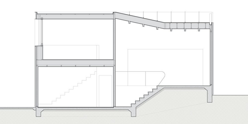 Section through the office / living space and garage.