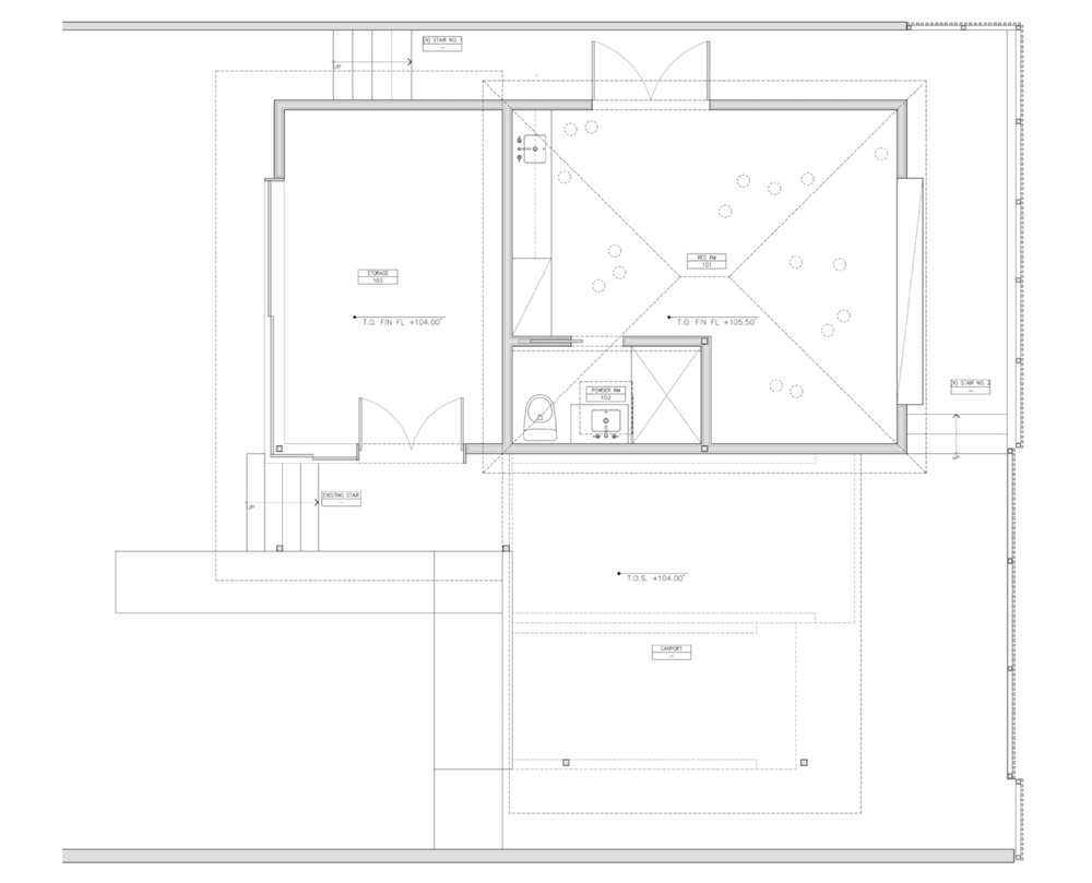 Ground floor plan of the studio and guest suite.