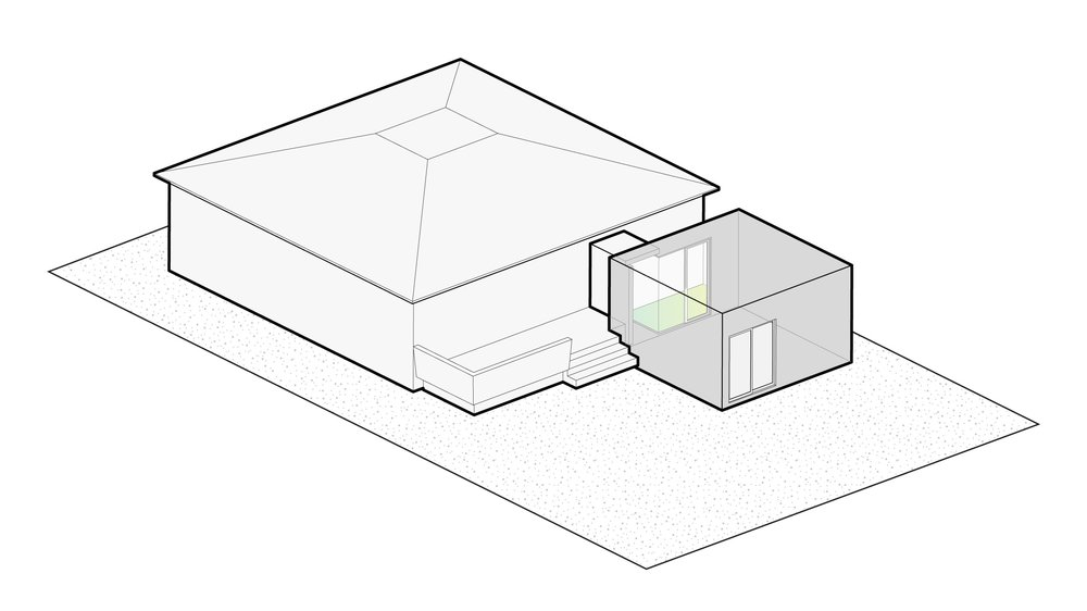 Step 1: A private garden court is inserted between the existing house and the addition.