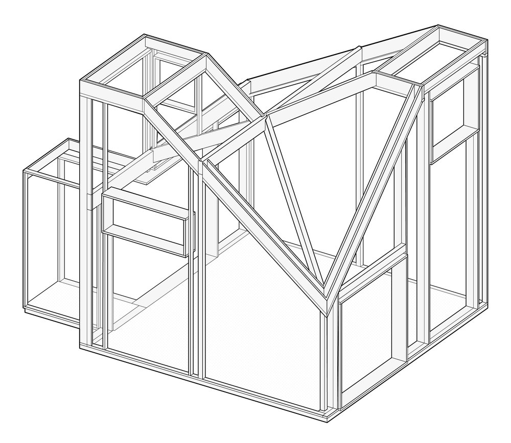Isometric drawing showing primary framing.