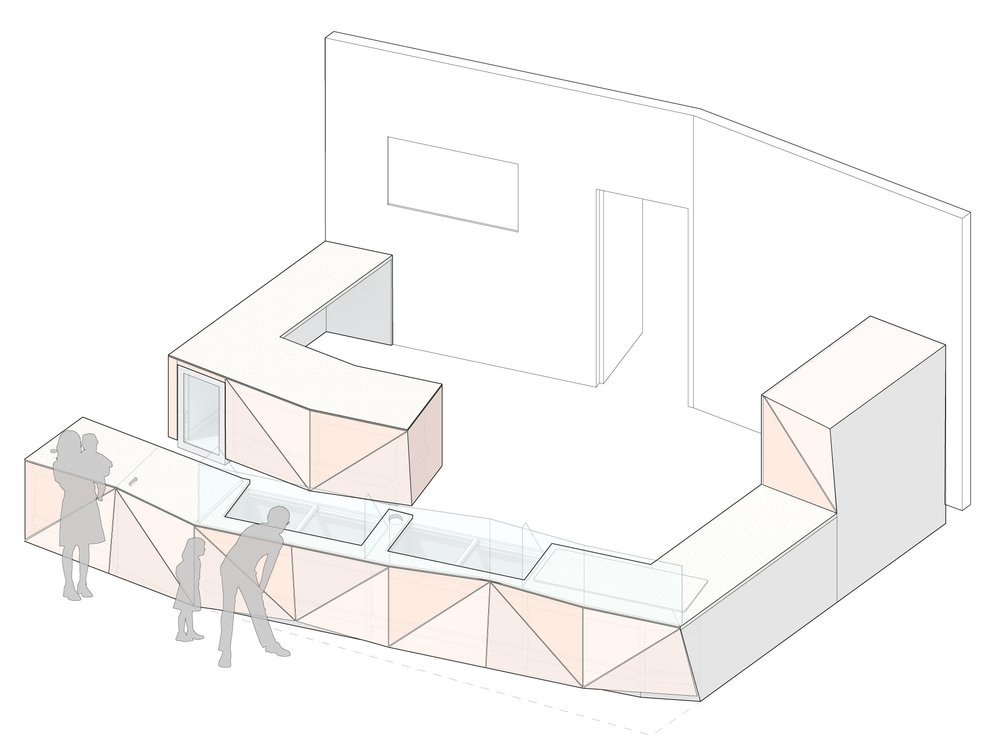 Isometric view of the front of house product display and workspaces byond.