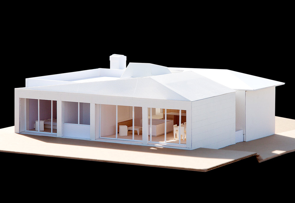 The model showing the addition's connection to the backyard.