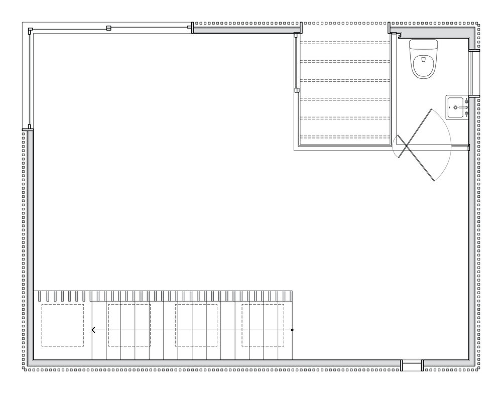Second floor plan of the studio.