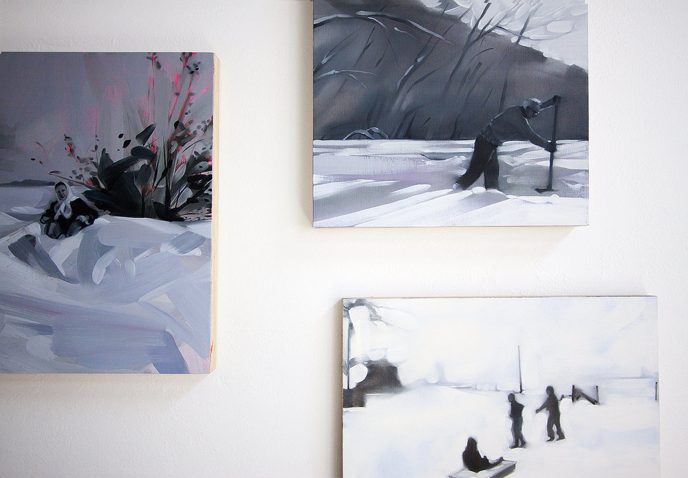 The monochrome pallet of the studio was influenced by Rebecca Campbell's recent paintings.