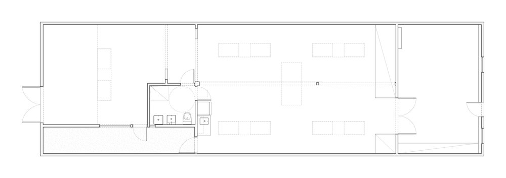 Plan showing two galleries, courtyard, bar area, and restroom.
