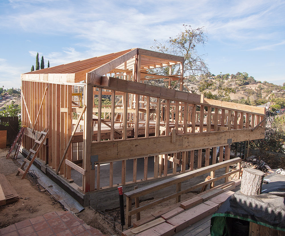View of the rough framing.