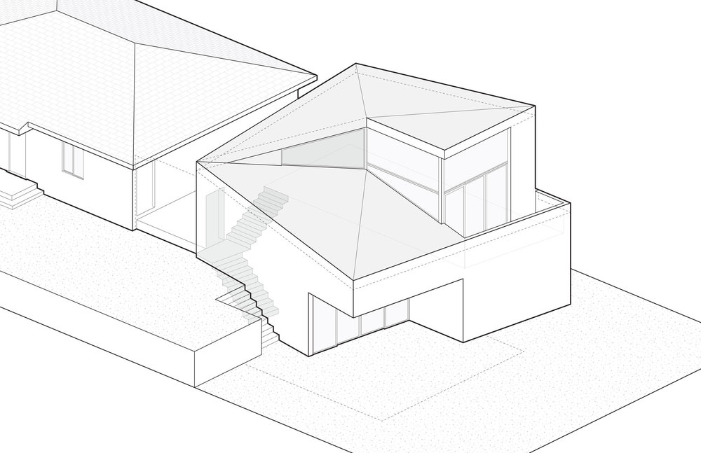 6. Raise roof at the rear to create head clearance for stair to second level.