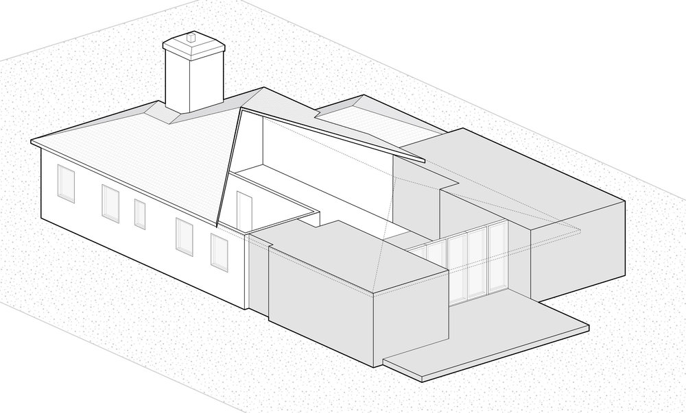Step 1: We added dining room and master suite volumes that frame the central living spaces.