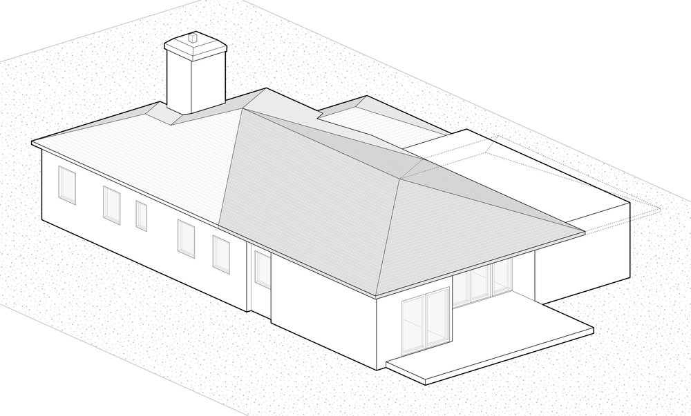 """Step 2: We extended the existing roof to create an """"outdoor room"""" under the deep eave at the rear deck."""