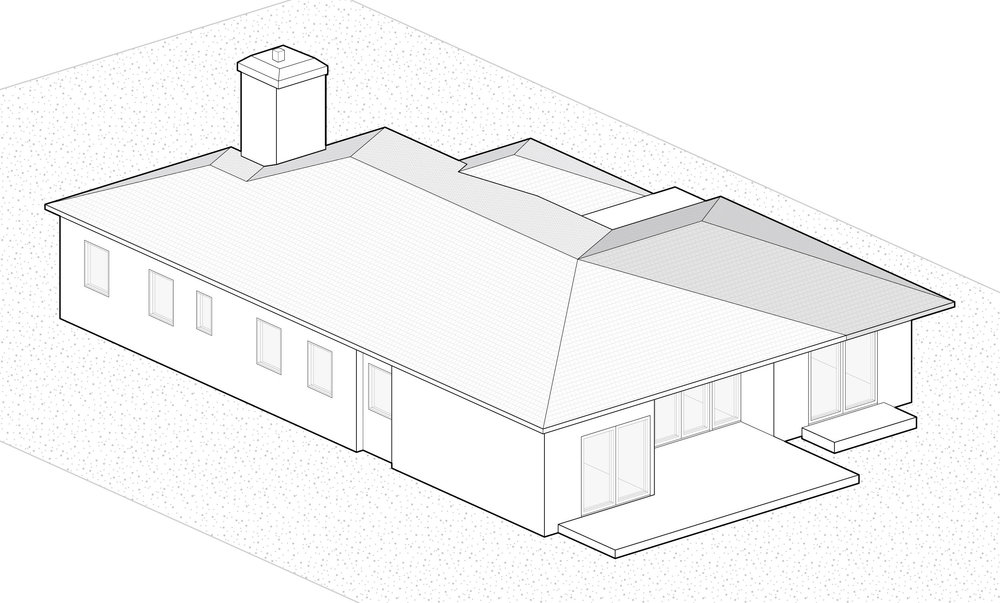 Step 3: We added a second roofline to create a shaded sitting area for the master suite.
