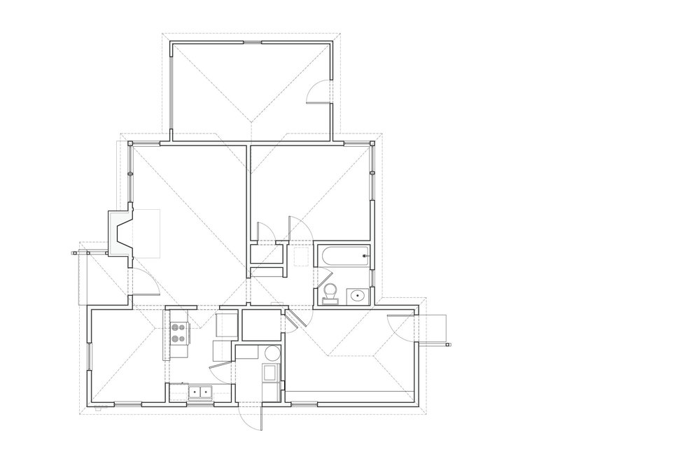 Plan of the original 880 square foot house.
