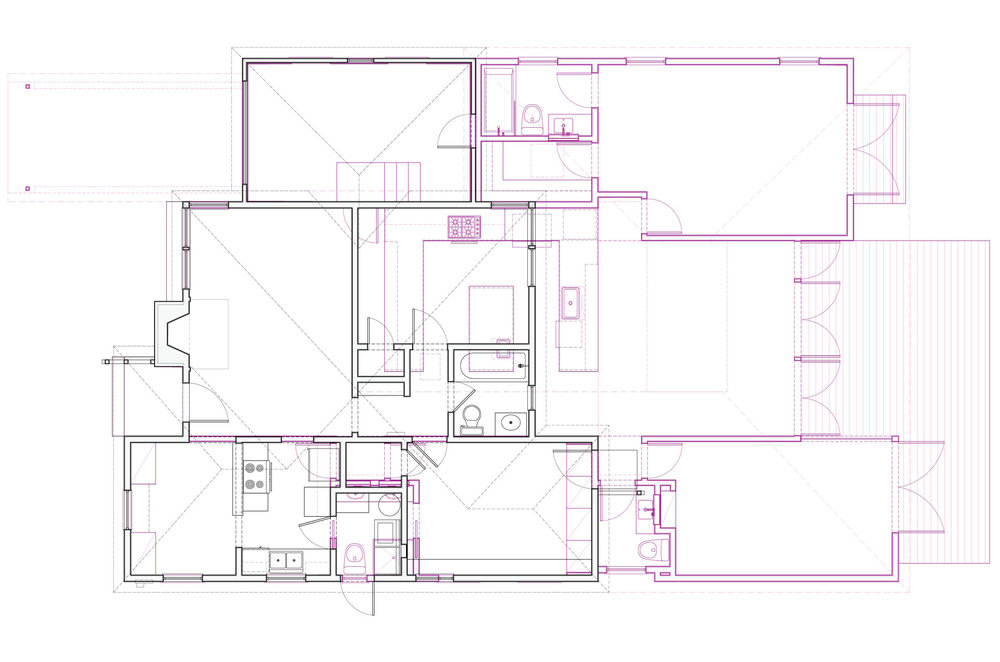 The original house plan with the new plan overlaid in magenta.