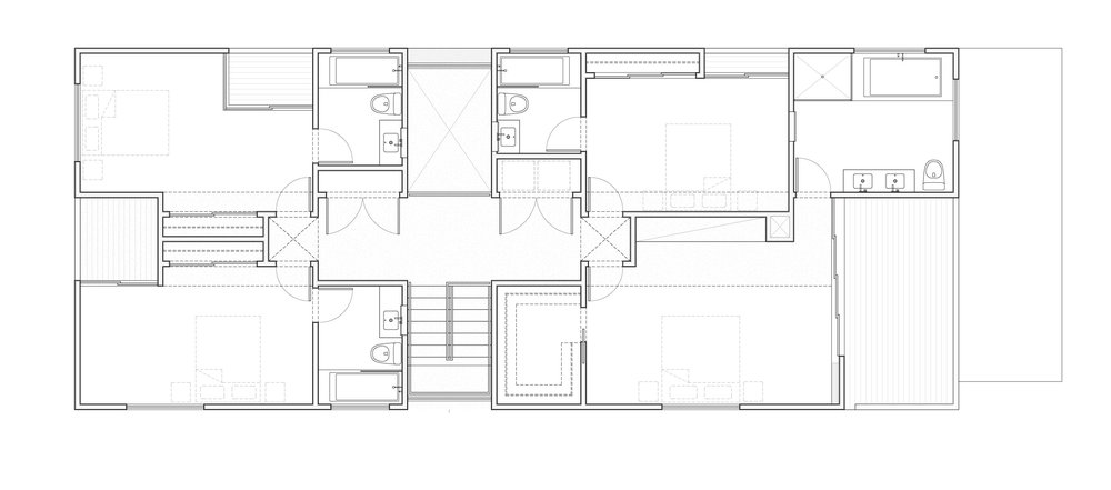 Second floor plan showing cross-shaped hall and double height space above the living room.