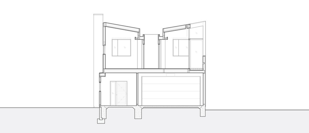 Transverse section through the vaulted bedroom spaces.