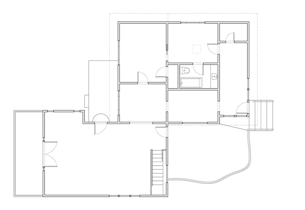 Plan of the existing house showing how compartmentalized it was prior to the renovation.