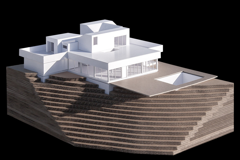View of the model showing the facade opening towards the panoramic view.