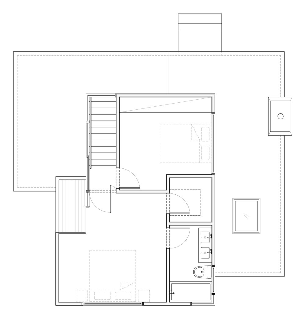 Plan of the second story addition.