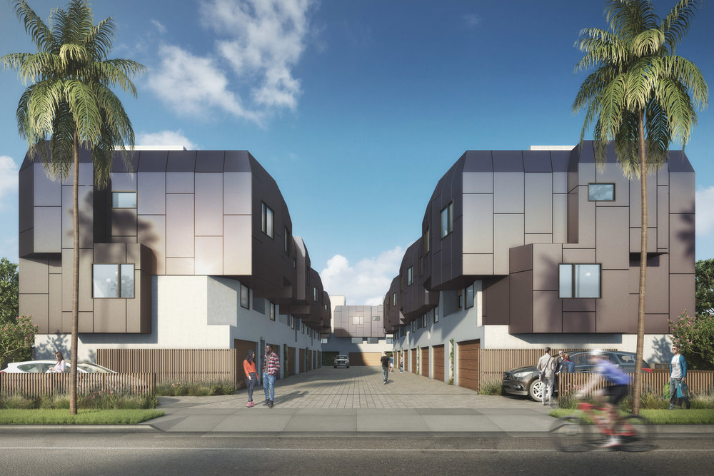 A central driveway separates the blocks, allowing direct access to the dedicated parking for each residences.