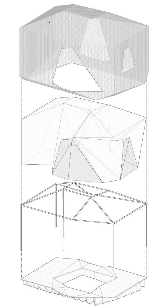 Exploded isometric showing the building components.