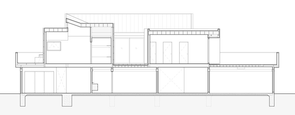 Section through bedrooms and balconies.