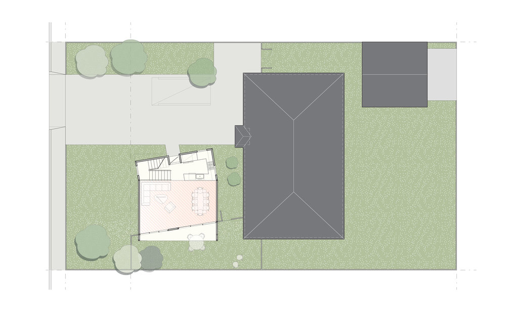 The site plan of the two-story, two bedroom scheme in front of an existing house.