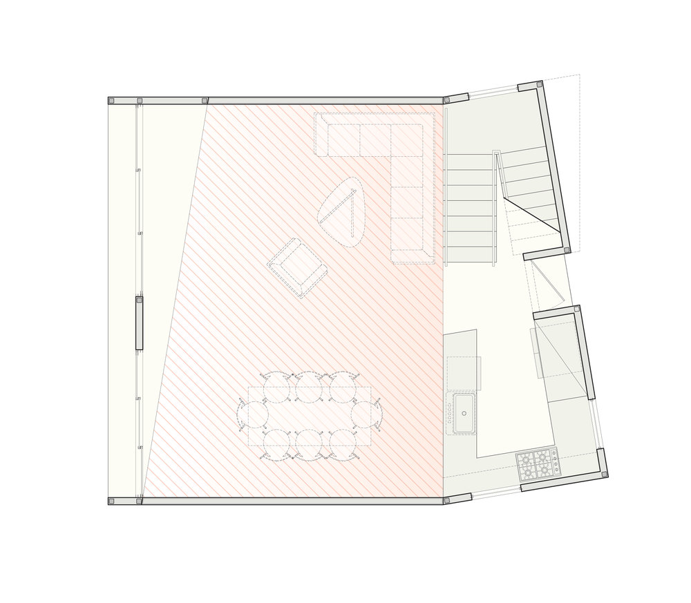 The ground-floor plan of the two story, two bedroom scheme.