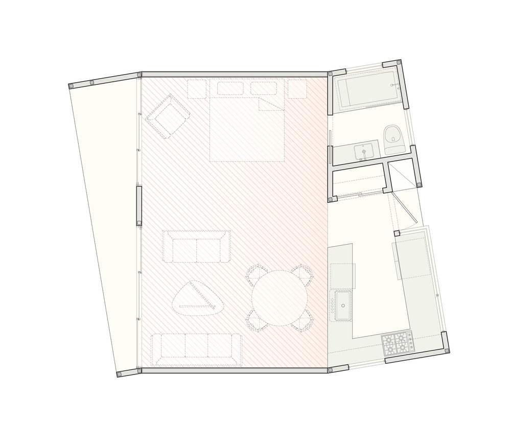 The ground-floor plan of the single-story, studio scheme.