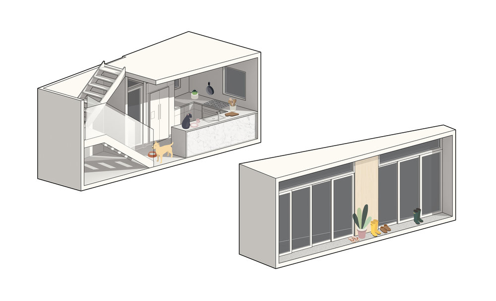 "Ground-floor ""A"" bookend (left) incorporates the kitchen, entry, stair, and MEP. Ground-floor ""B"" bookend (right) incorporates glazing and the door systems."