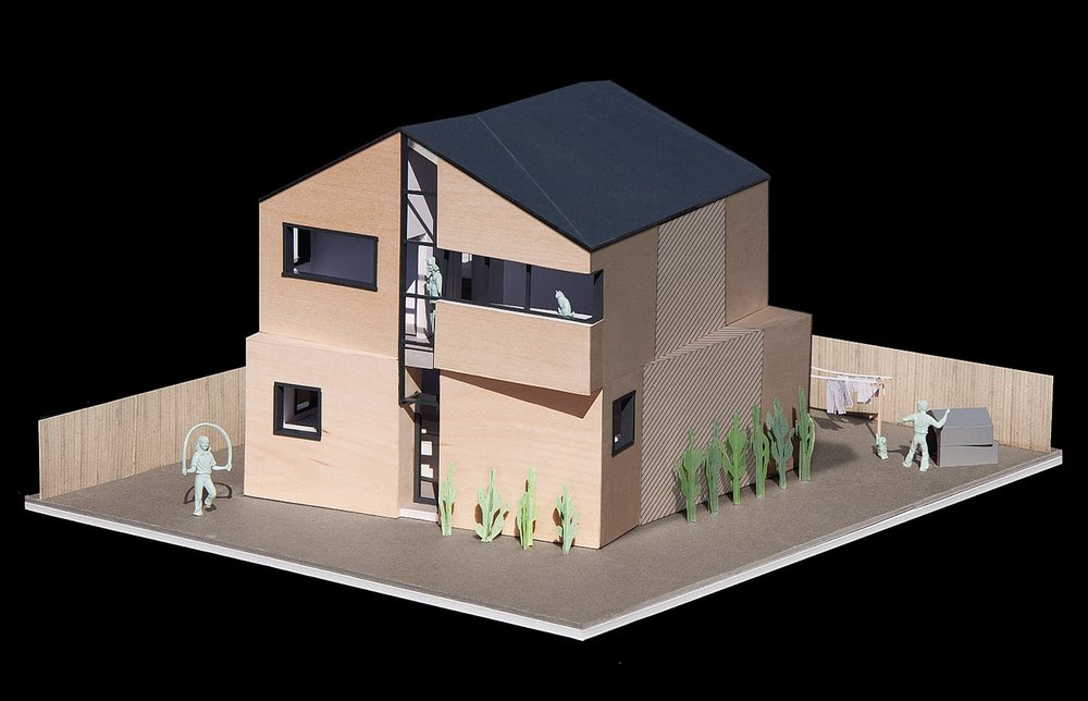 Models showing the front of the two-story option that faces the street.