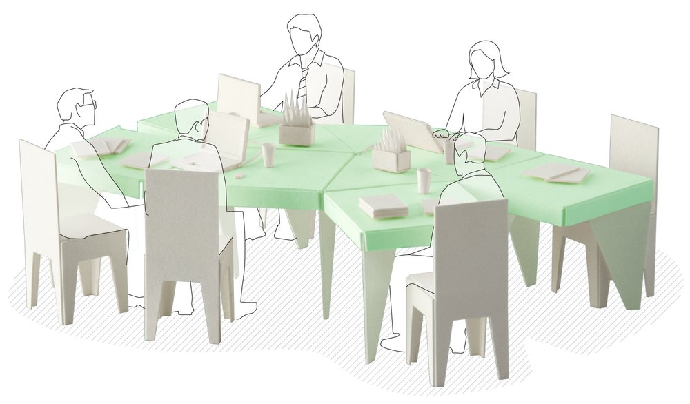 """Model showing the """"Open Ended"""" table in use."""