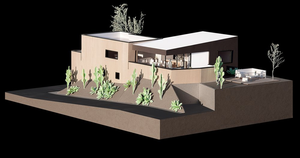View of the model showing the balcony which faces the back yard and view.