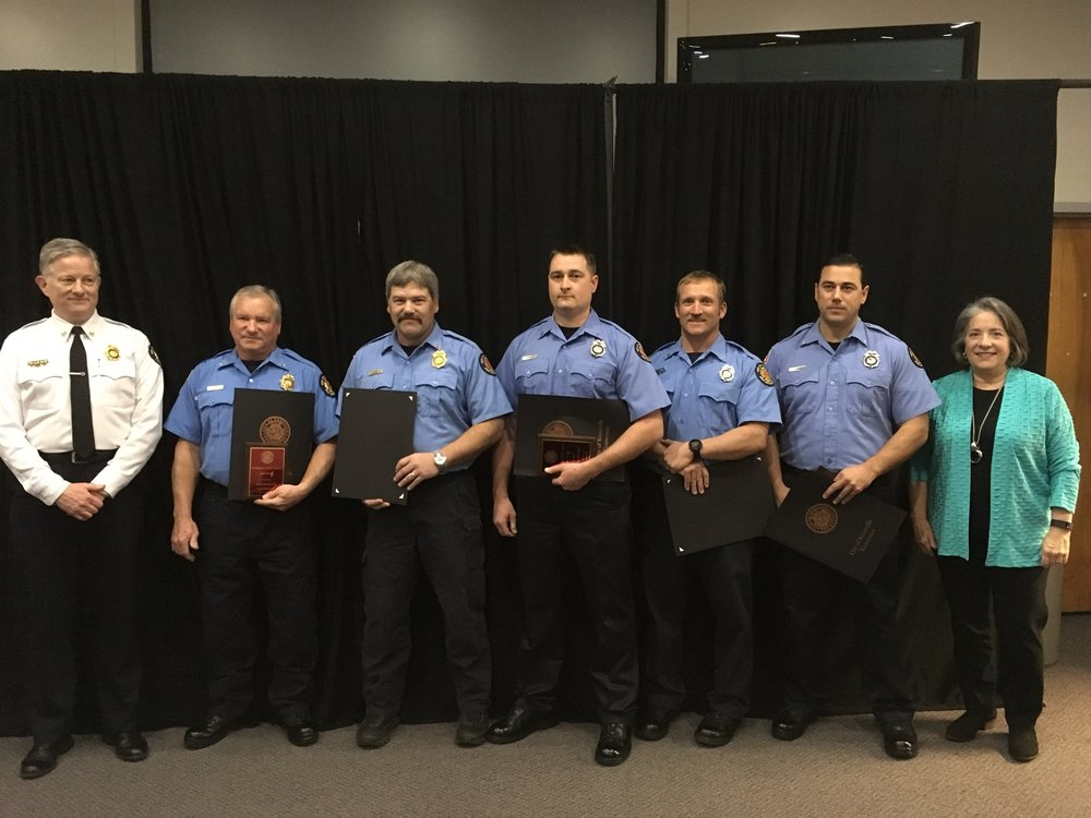 From left: Chief Stan Sharp, Capt. Cecil Risden, Capt. Jack Lay, Master Firefighter Matt Beavers, Master Firefighter Rusty Jenkins, Senior Firefighter Jacob Mason, and Mayor Madeline Rogero Photo courtesy of City of Knoxville