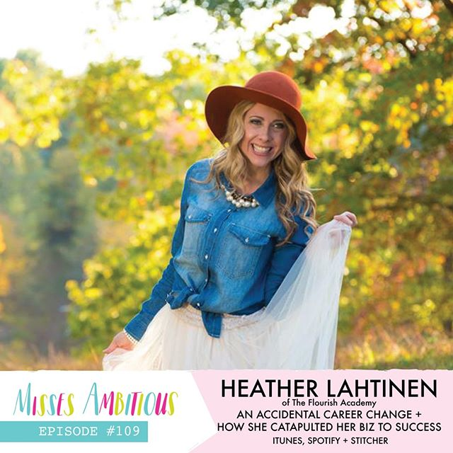 We met Heather of @flourishacademy at the Business Boutique event we went to in April. From the moment we began chatting with Heather, we knew she had to come on the show and share her infectious energy with our community! Your industry has zero to do with what you can gain from this episode...so head over to iTunes or Spotify and listen to Episode #109 with Heather Lahtinen! . . . #missesambitious #ambitiousadventures #podcast #creativepodcast #smallbusinesspodcast #communityovercompetition #creativebiz #girlboss #magicalunicornladyboss #smallbutmighty #workfromwherever #businesschicks #lovelysquares #creativelifehappylife #growingagirlboss #kileyinkentucky #msfitfood