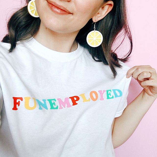 Funemployed and loving every minute. How cute (and appropriate) is this shirt by @studiodiy? We love it. And we hope you loved today's episode...yes, it's another throwback because #life, but we reposted one of our favorites from earlier in the year. Let us know what you think about all the worthiness talk in this episode! . . . #missesambitious #ambitiousadventures #podcast #creativepodcast #smallbusinesspodcast #communityovercompetition #creativebiz #girlboss #magicalunicornladyboss #smallbutmighty #workfromwherever #businesschicks #lovelysquares #creativelifehappylife #growingagirlboss #kileyinkentucky #msfitfood
