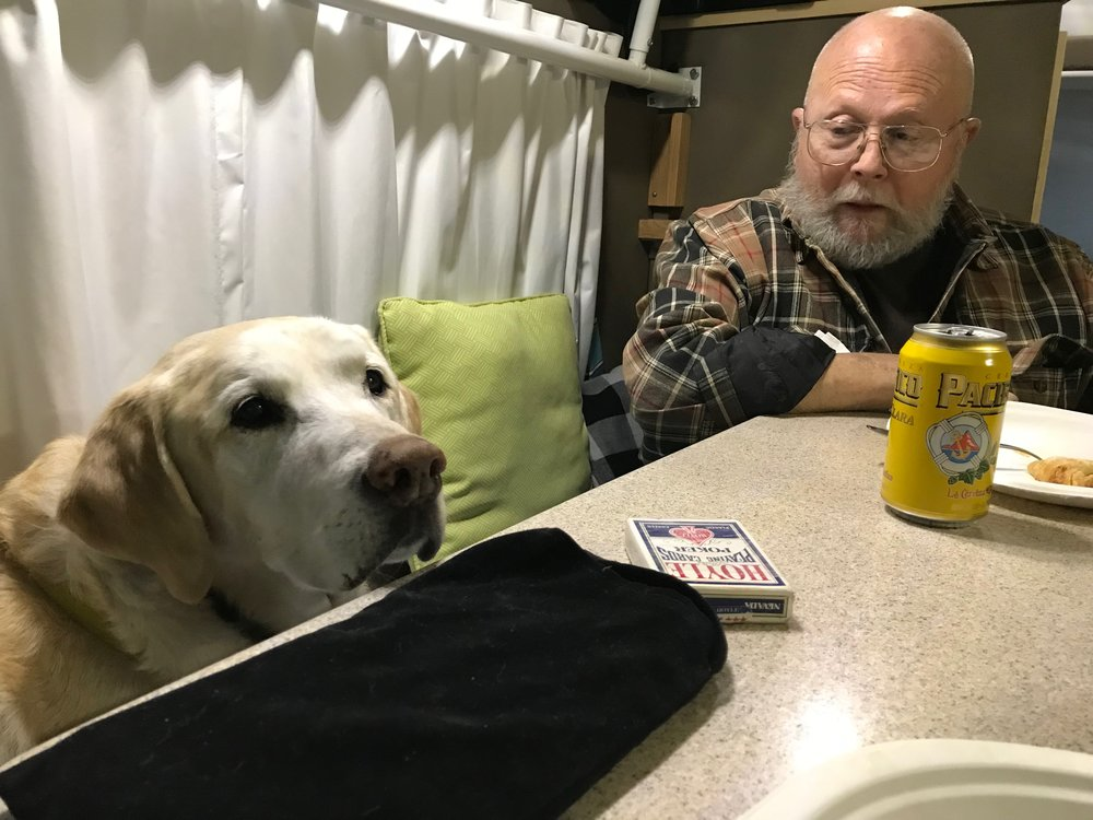 George loves to sit at table with dad and I in the camper
