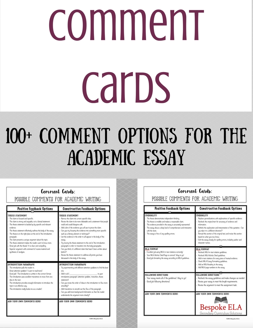 This product from Bespoke ELA contains comment options for students to use during peer revision that are focused on ACTIONS rather than CRITICISMS.  Oftentimes, students don't know how to give helpful comments during peer revision.  These comment cards act as a guide for students to improve the quality of their peer feedback.