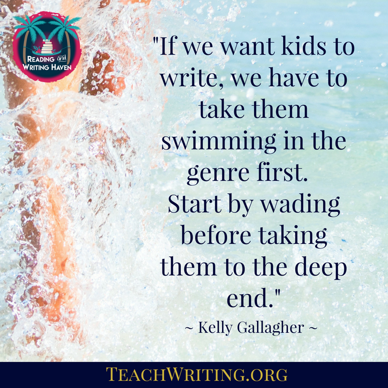 If we want kids to write, we have to take them swimming in the genre first. Start by wading before taking them to the deep end..png