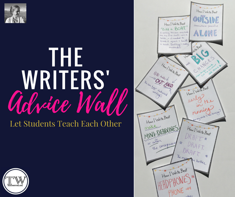 Let students share their best writing tips with each other on the writers' advice wall.