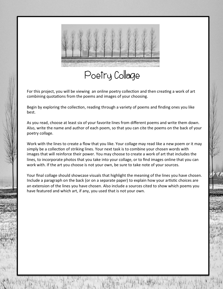 Poetry Collage Poetry Meets Art Teachwritingorg