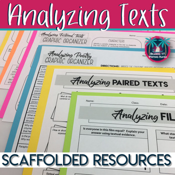 Analyzing texts scaffolded resources and graphic organizers for middle and high school